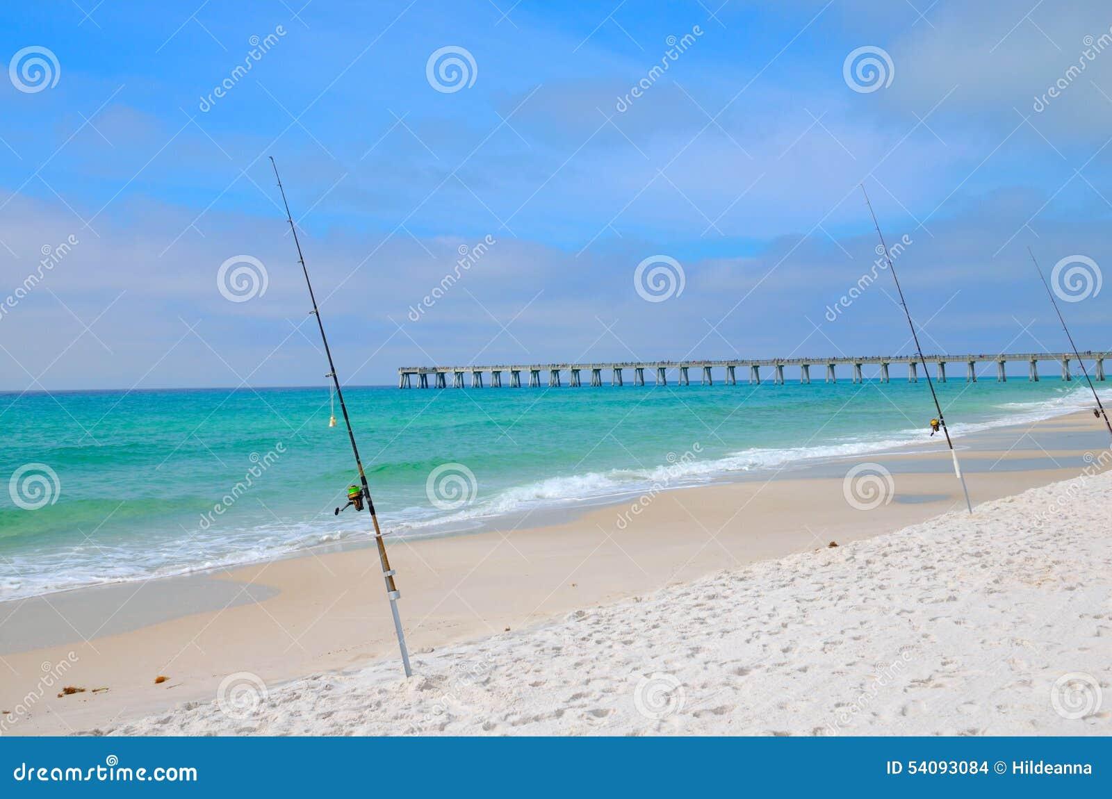 Fishing in the gulf of mexico panama city fl stock photo for Surf fishing panama city beach