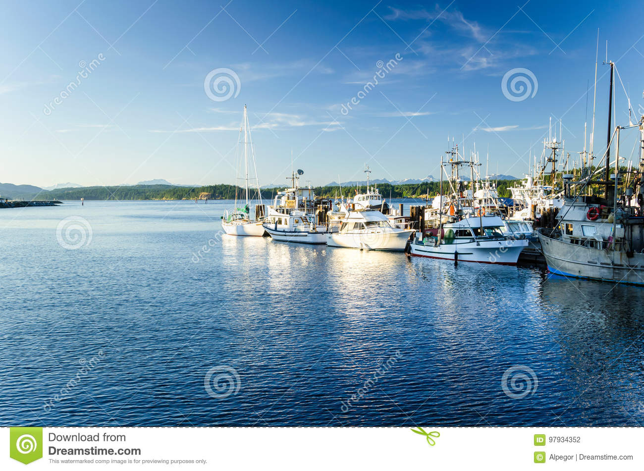 Download Fishing Harbor at Sunset stock photo. Image of moored - 97934352