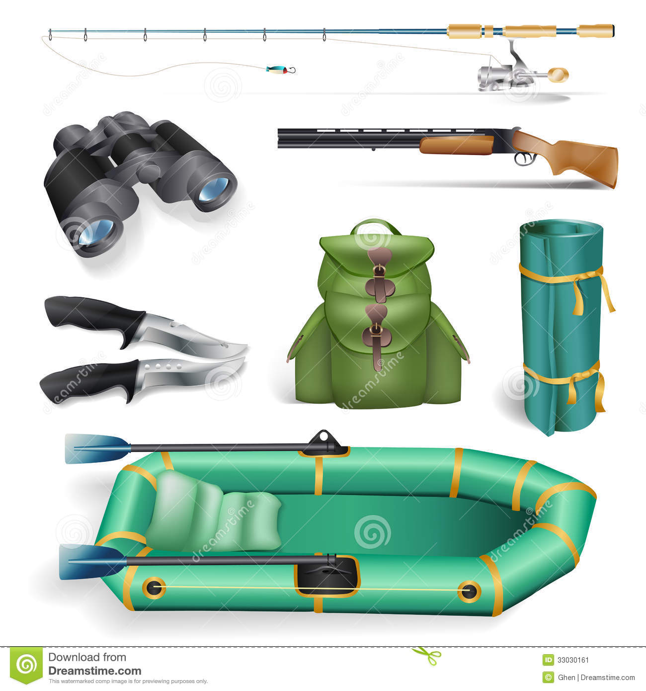 Fishing And Hunting Objects Stock Image - Image: 33030161