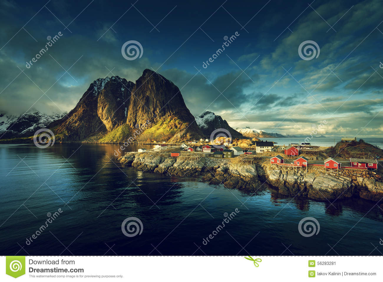 Download Fishing Hut At Spring Sunset - Reine, Lofoten Islands Stock Image - Image of peaks, pier: 56283281