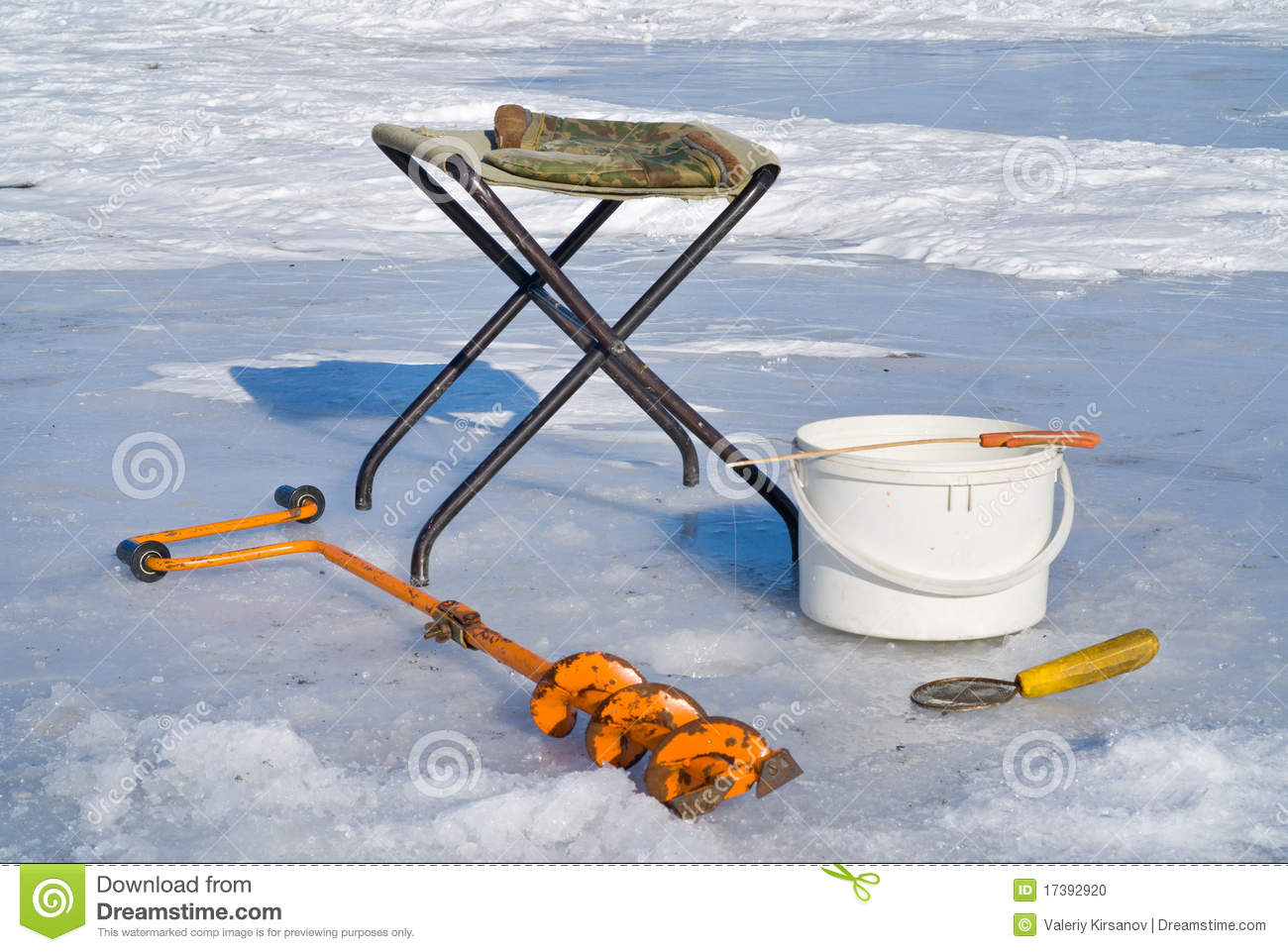 Fishing on ice equipment 3 stock photo image 17392920 for Winter fishing gear