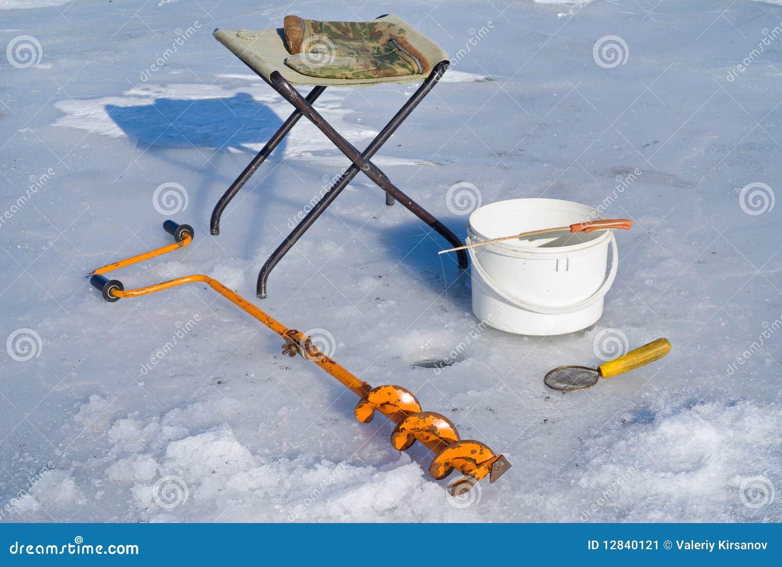 Fishing on ice equipment 4 stock image image 12840121 for Ice fishing tools