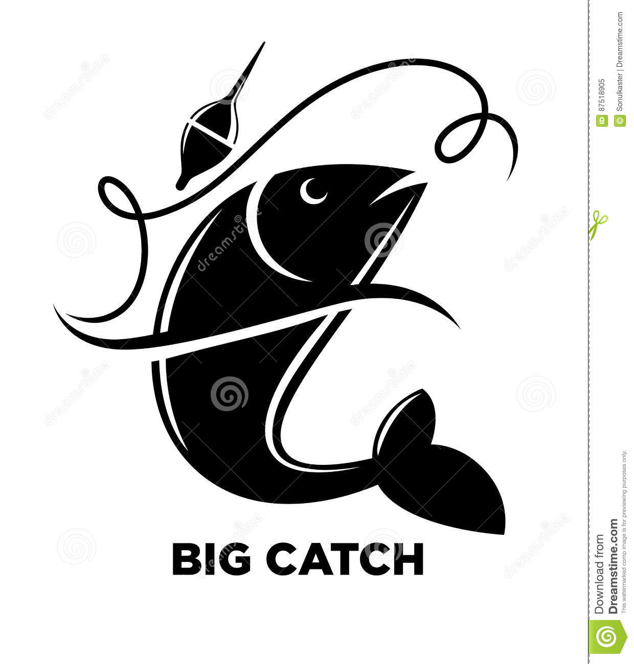 Fishing Icon Of Fish On Hook For Fisherman Club Or Fishery Sea Sport