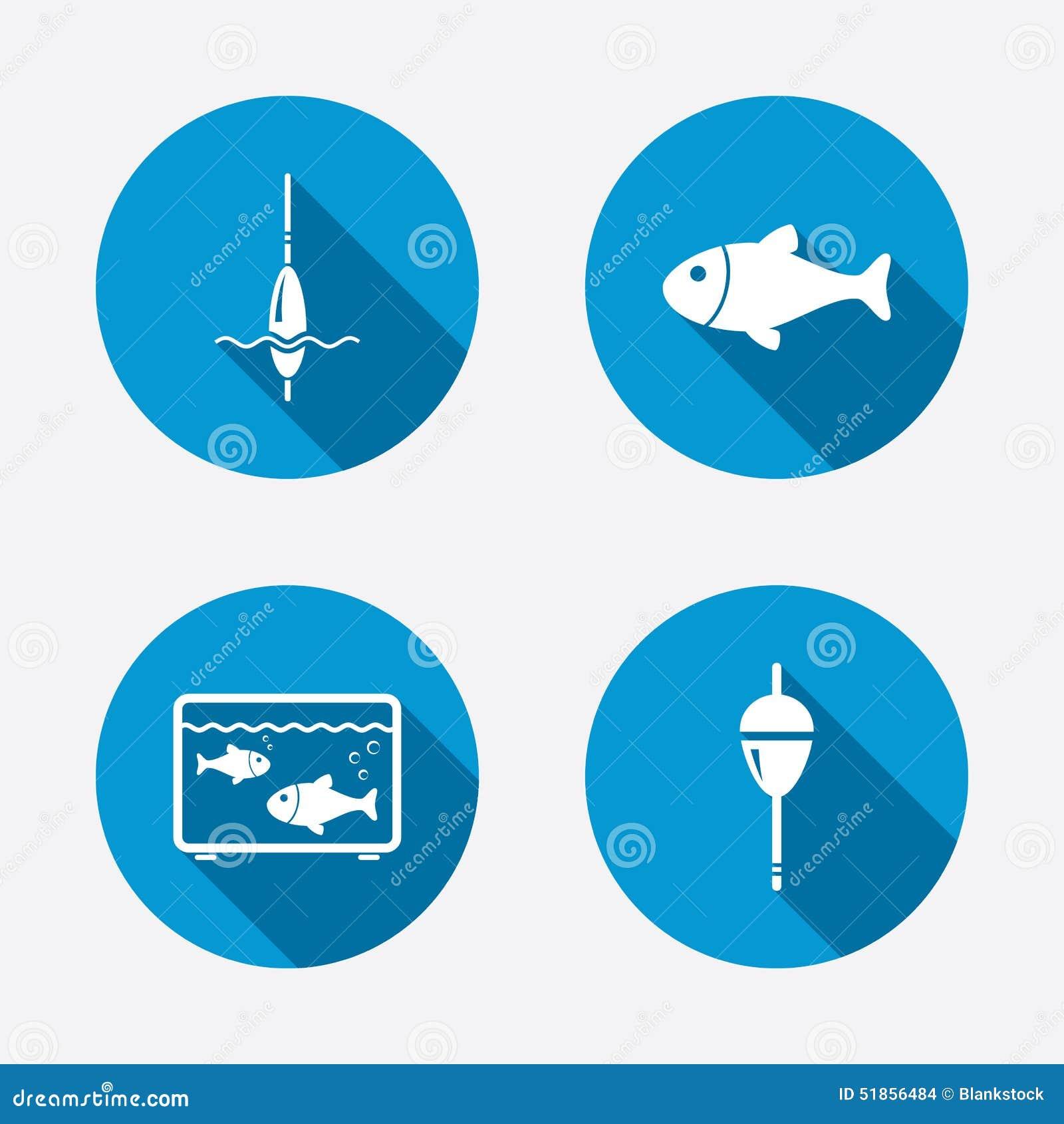 Fishing Icons Fish With Fishermen Hook Symbol Stock Vector
