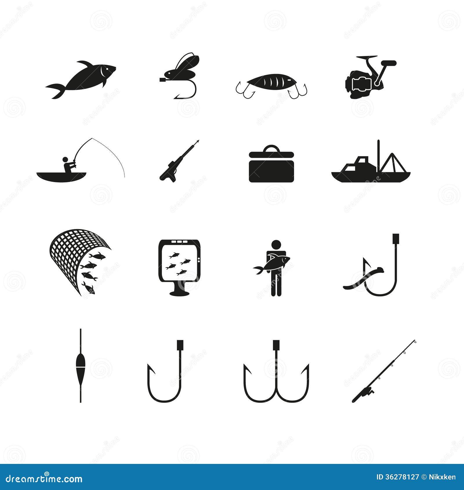 Fishing Icons Set Stock Vector Illustration Of Bait 36278127