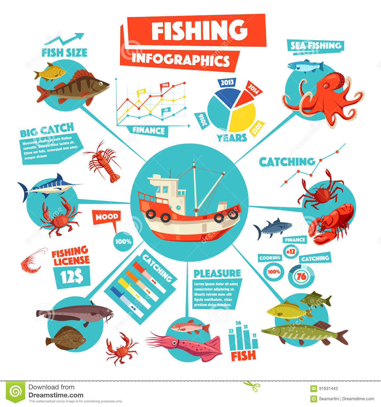 Fishing Infographics Design With Graph, Fish, Boat Stock Vector ...