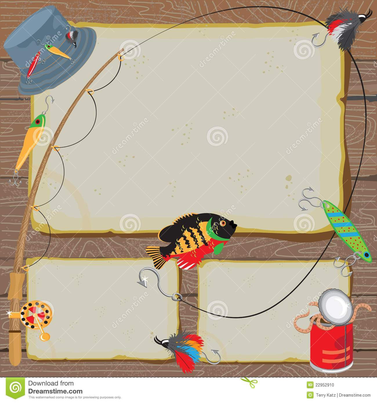 Fishing Invitation Notice Card Stock Vector - Illustration: 22952910