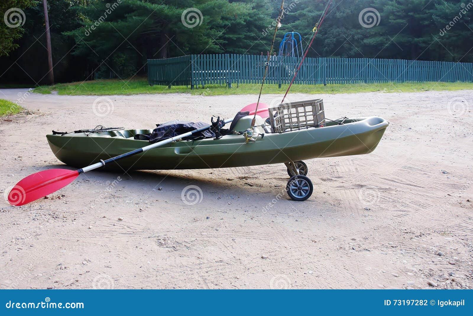 Fishing kayak on wheels paddle rods