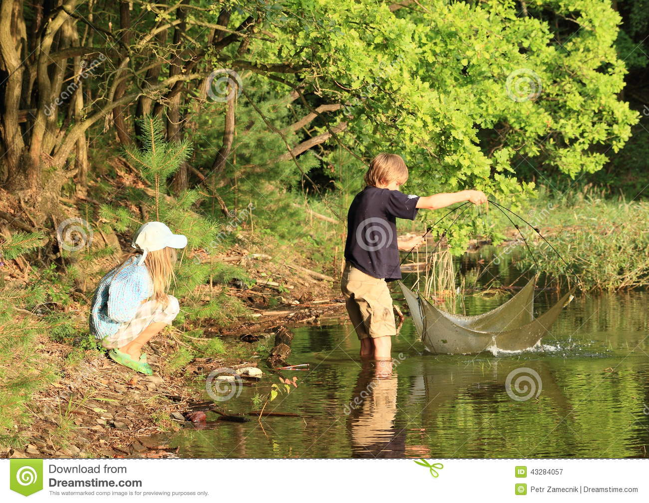 Fishing kids stock photo image 43284057 for Kids fishing net