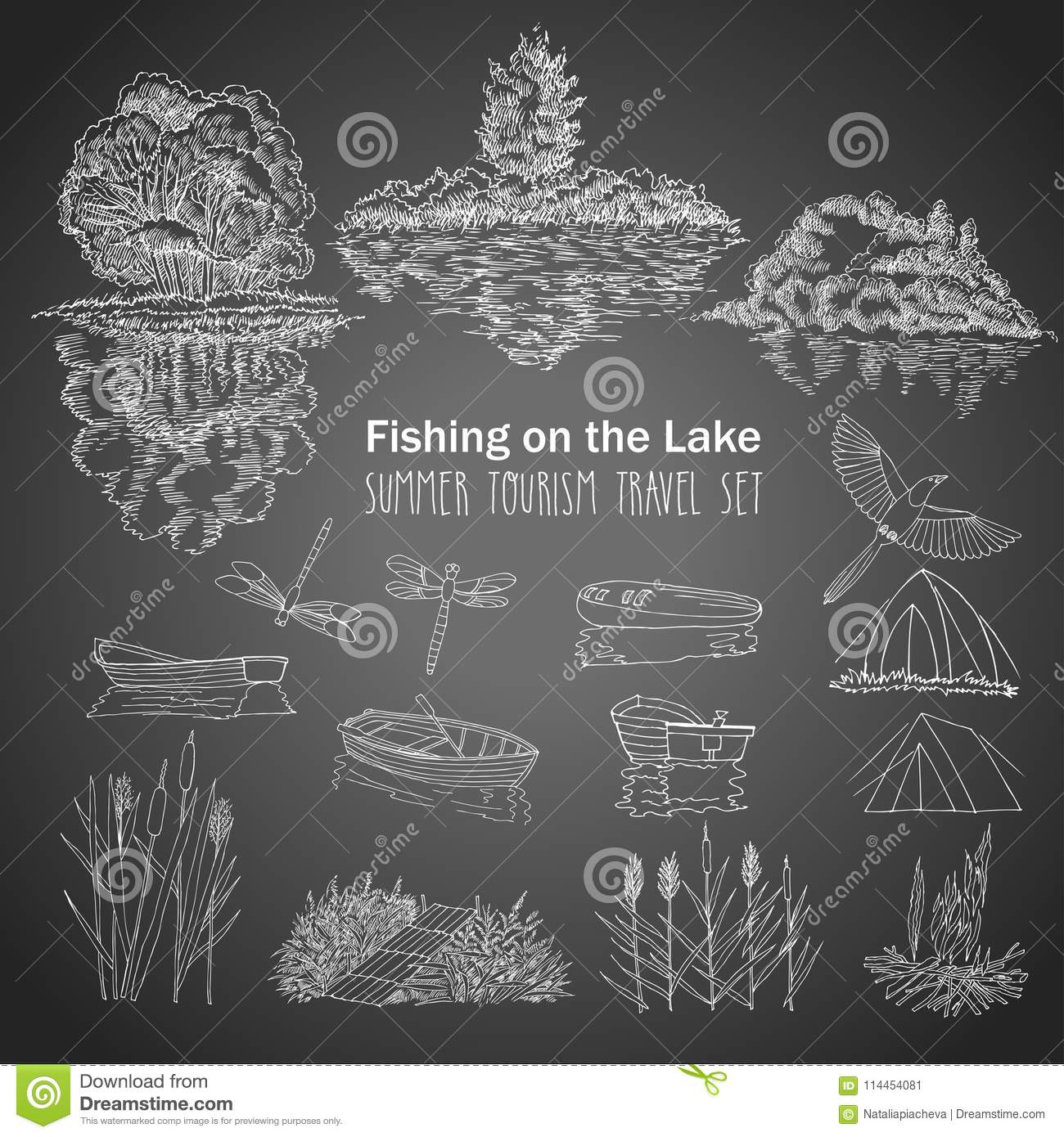 Fishing On The Lake Background With Boat Stock Vector Illustration