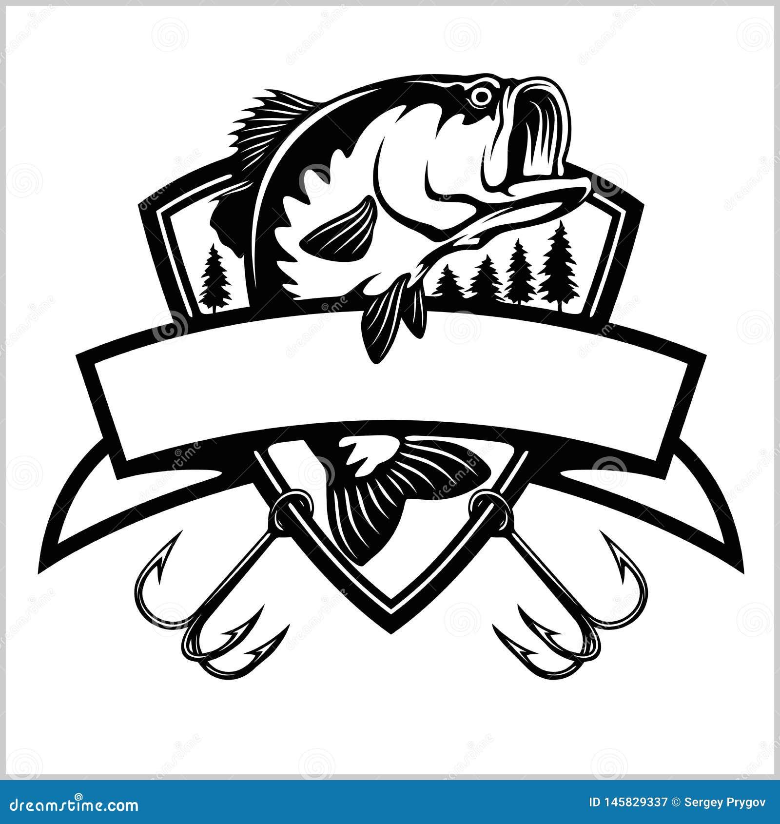 Fishing Logo. Bass Fish With Template Club Emblem. Fishing ...