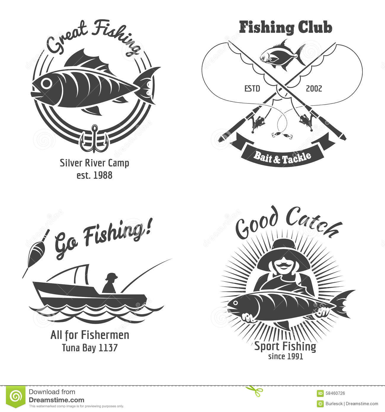 Fishing Logo And Emblems Vintage Vector Set Stock Vector