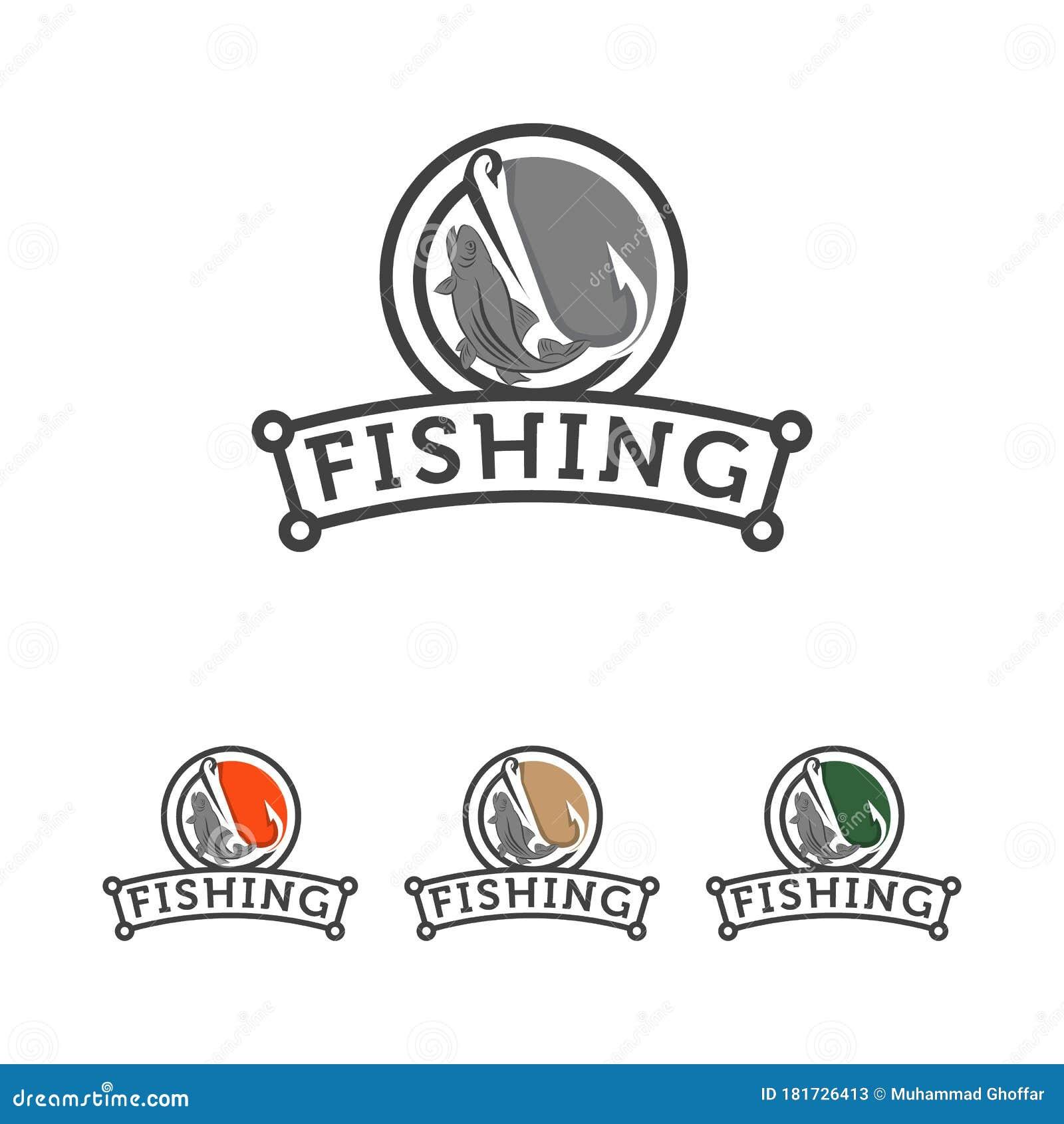 Fishing Logo , Fish And Hook Logo Template , Flat Logo Style