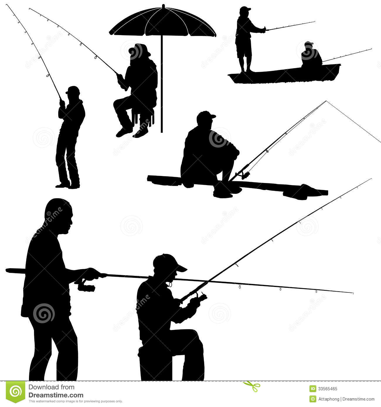 Fishing man silhouette vector stock vector image 33565465 for Fishing times free