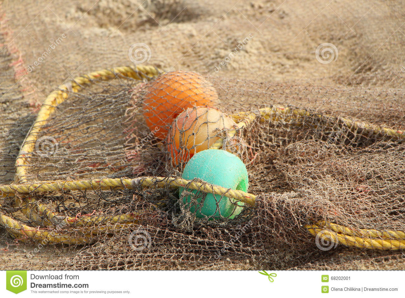 Fishing net and colorful floats stock photo image 68202001 for Fishing net floats