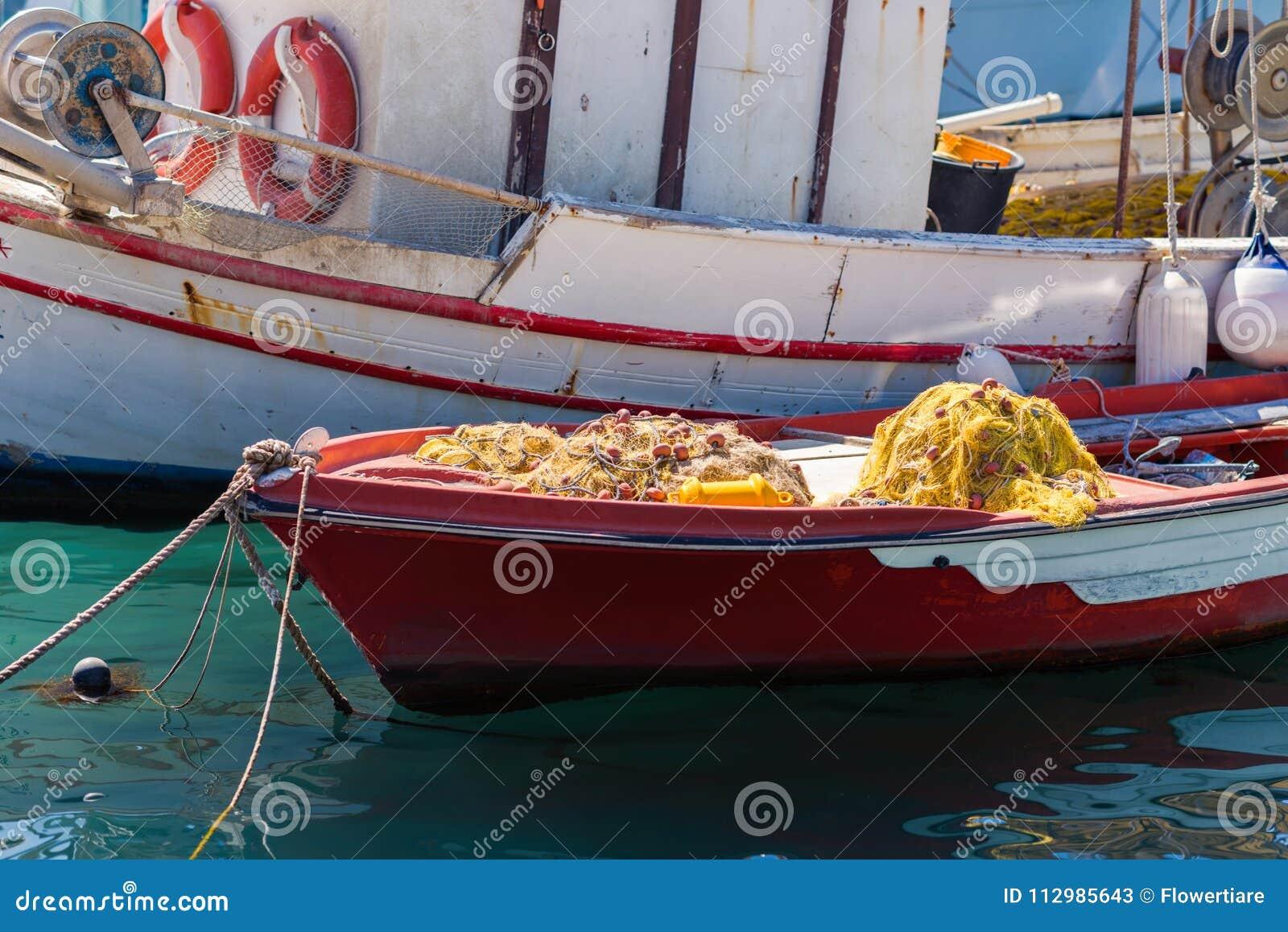 Fishing net in a fishing boat.