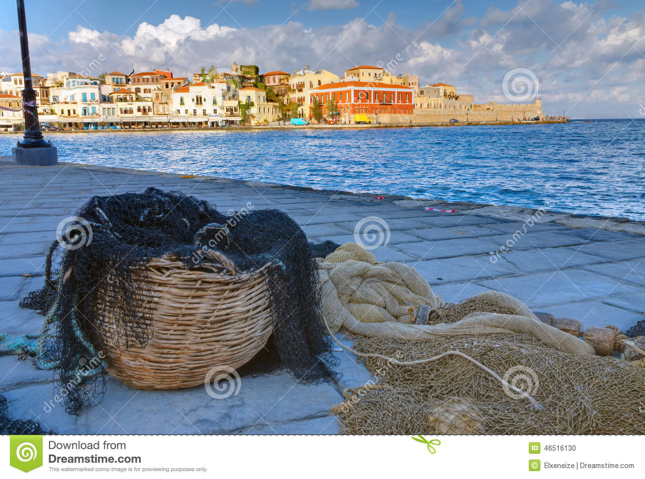 Fishing net in the port of Chania