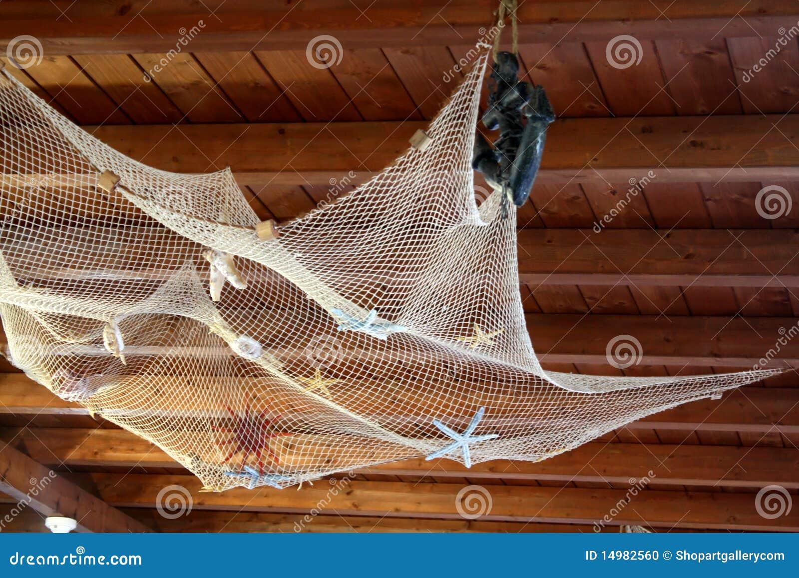 Fishing net on wood ceiling stock photo image of for Fishing net decor ideas