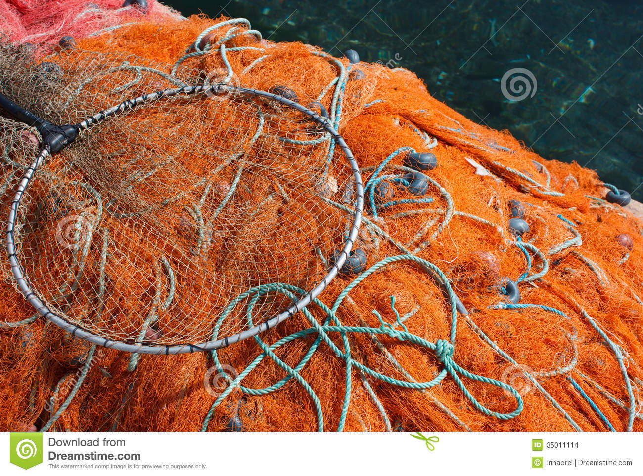 Fishing nets with floats stock photo image of industry for Fishing net floats