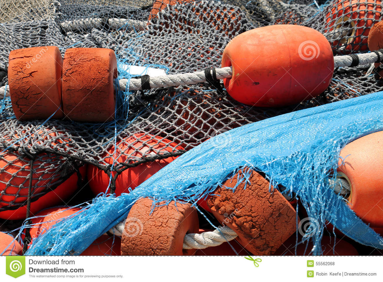 Fishing nets and orange floats stock photo image 55562068 for Fishing net floats