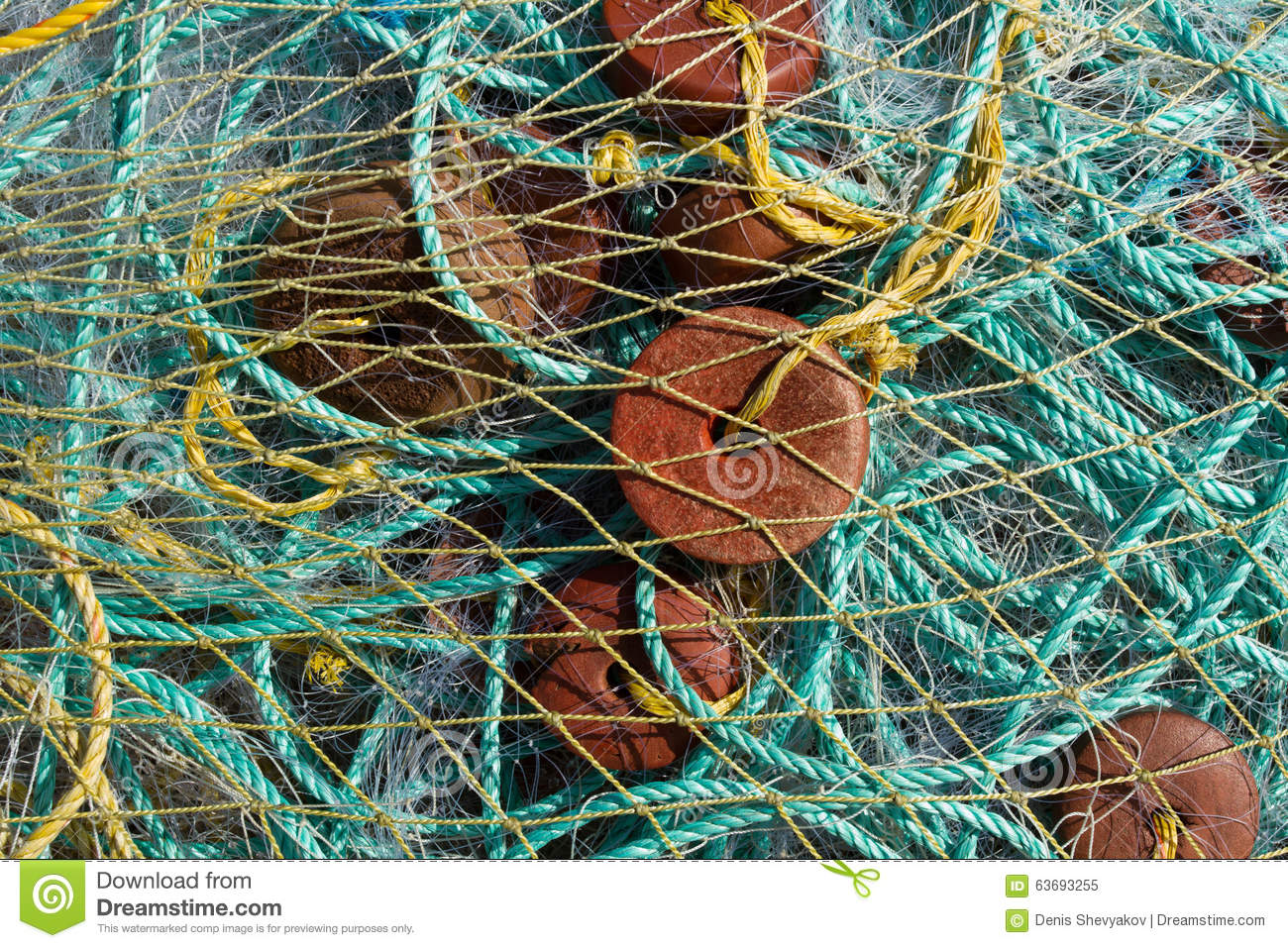 Fishing nets ropes floats bag with fishing nets stock for Fishing net floats