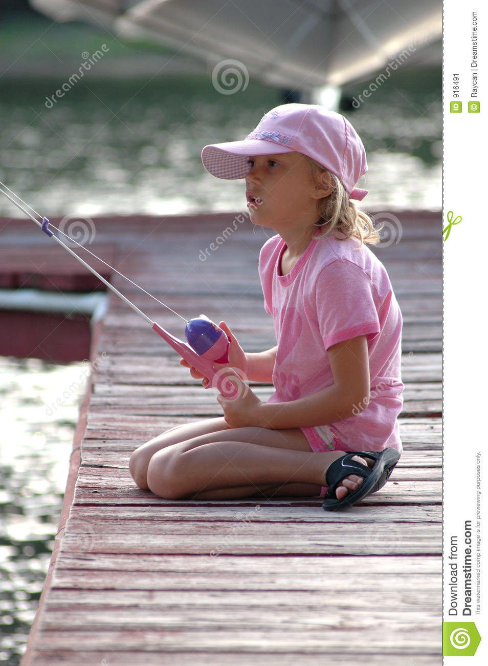 Fishing off dock stock image image of cast teach child for Little girl fishing pole