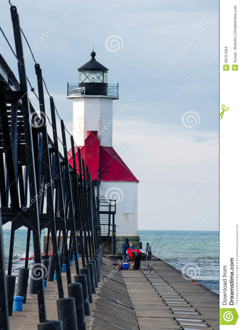 Fishing off of north pier editorial stock image image for St joseph michigan fishing report
