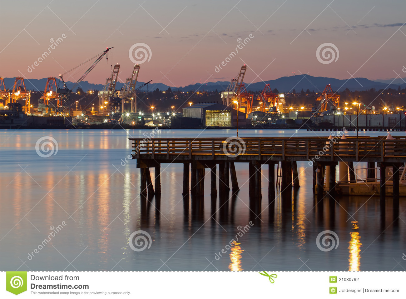Fishing pier at alki beach seattle washington stock photo for Fishing in seattle washington