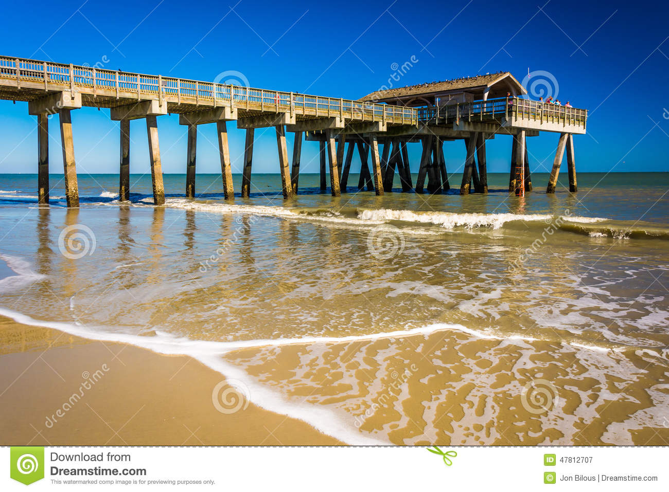 The fishing pier and atlantic ocean at tybee island for Tybee island fishing pier