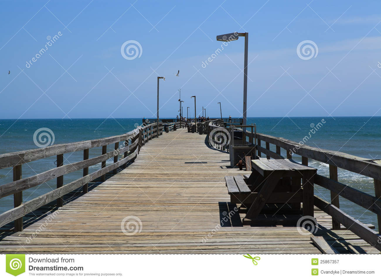 Fishing pier boardwalk outer banks north carolina stock for Fishing outer banks nc