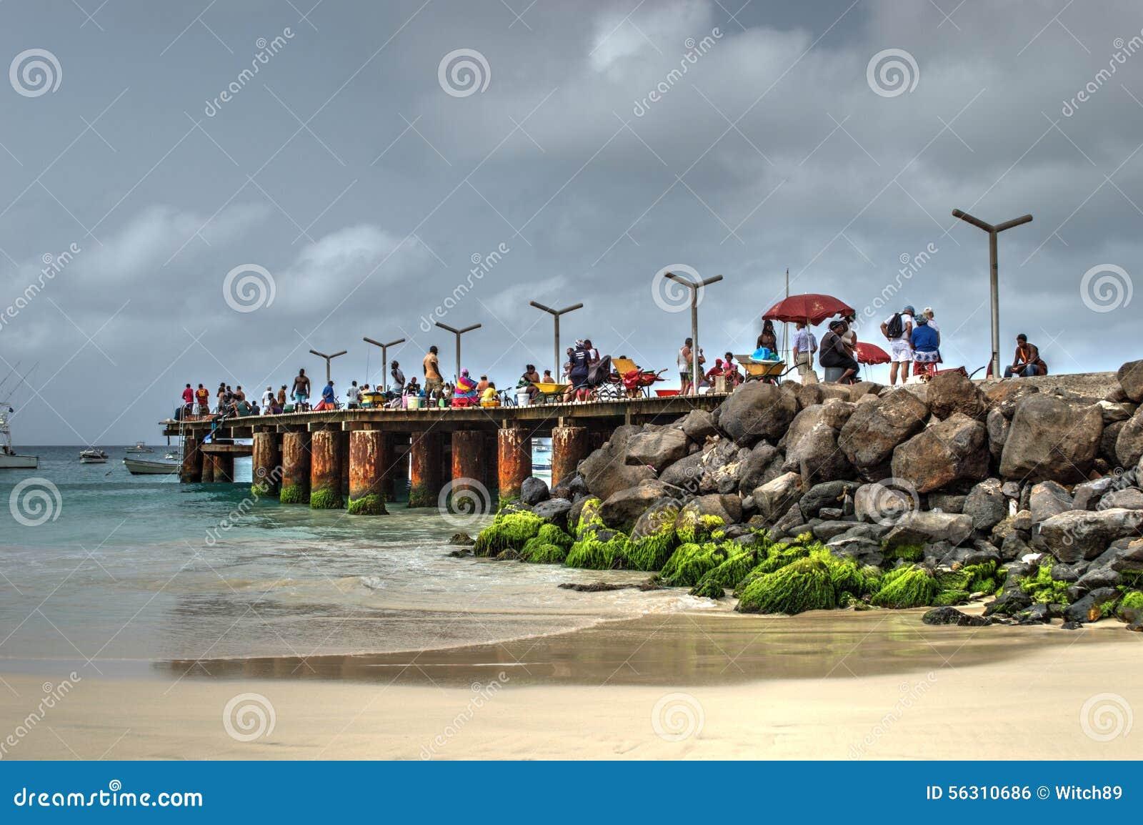 A fishing pier near the town santa maria sal island for Free fishing piers near me