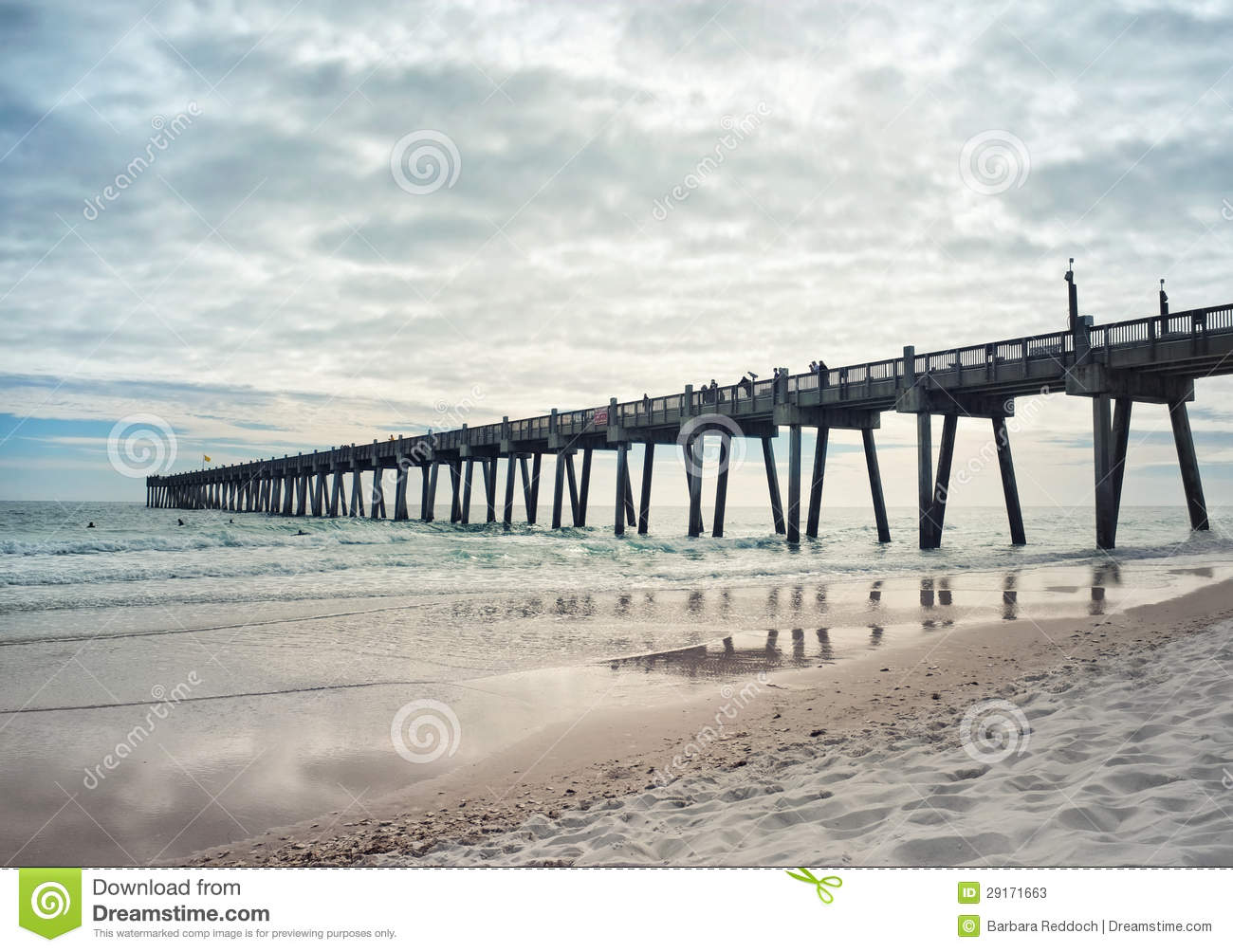 Fishing pier at sunset stock photos image 29171663 for Pensacola beach fishing pier