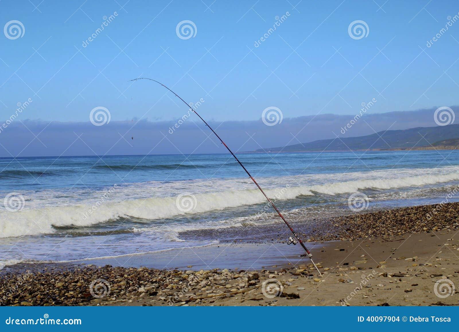 Fishing pole ocean Jalama Beach