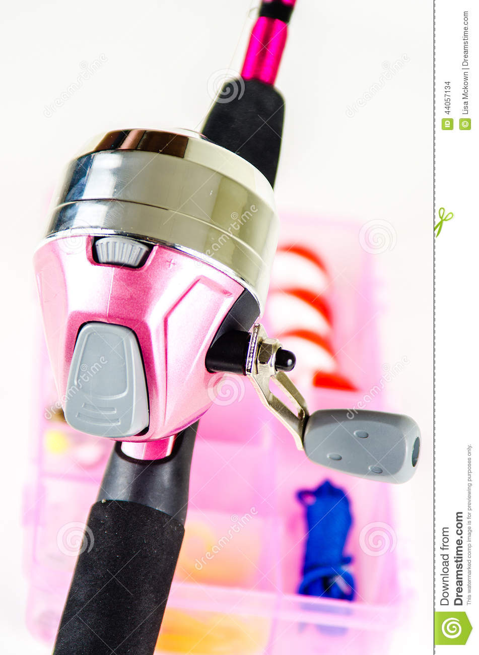 Fishing pole and tackle in pink stock photo image 44057134 for Pink fishing gear