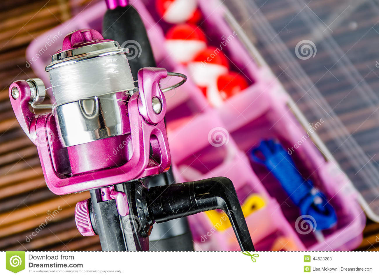 Fishing pole and tackle in pink stock photo image 44528208 for Pink fishing gear