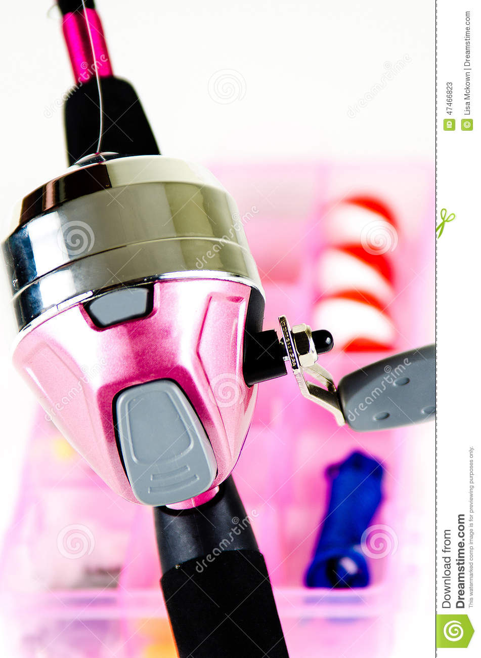 Fishing pole and tackle in pink stock photo image 47466823 for Pink fishing gear