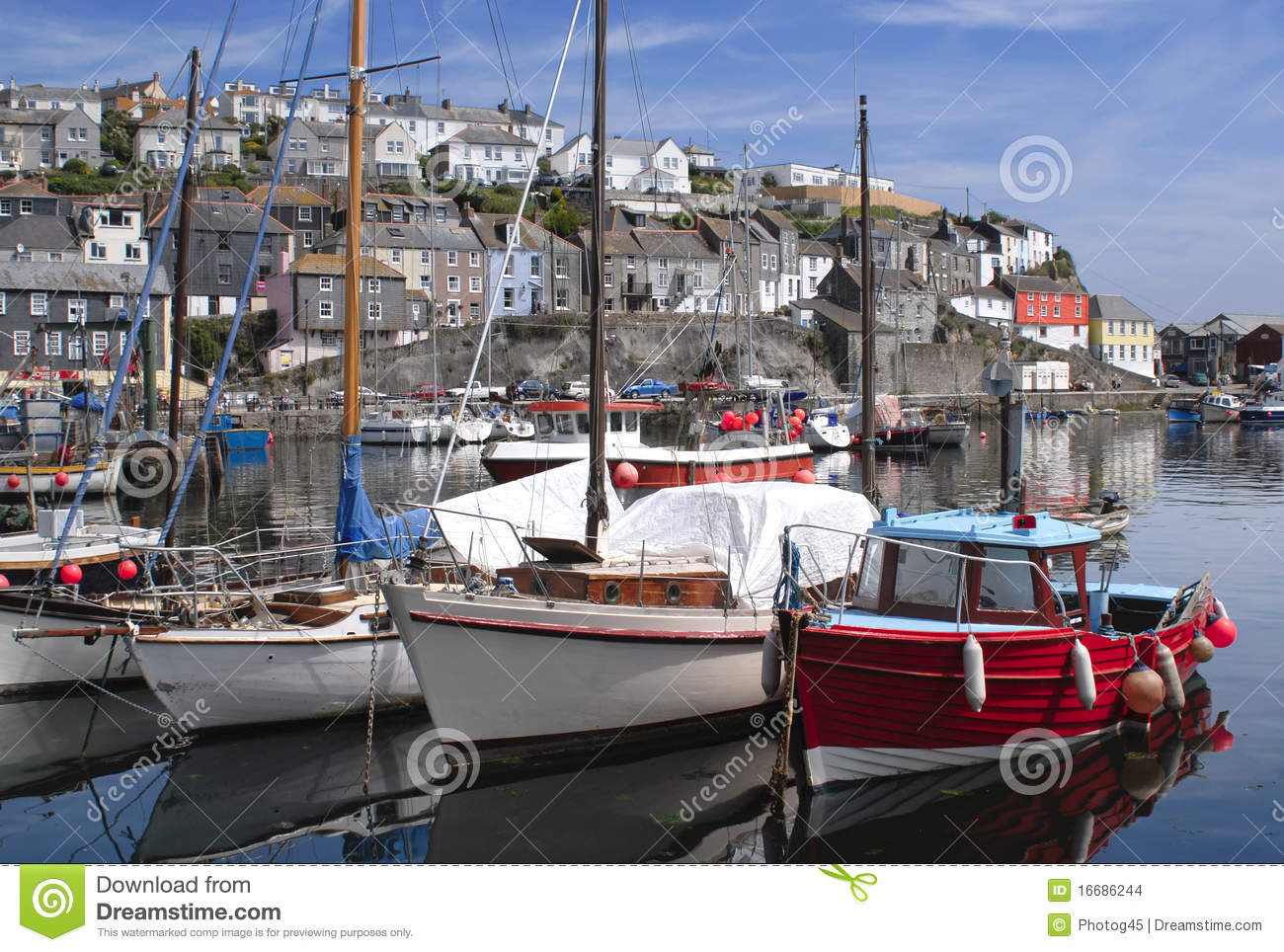 The fishing port of mevagissey in cornwall england stock for Port a fishing