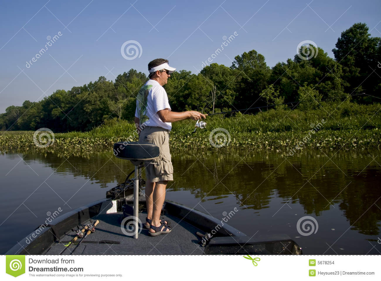 Fishing in the river stock photo  Image of large, boating