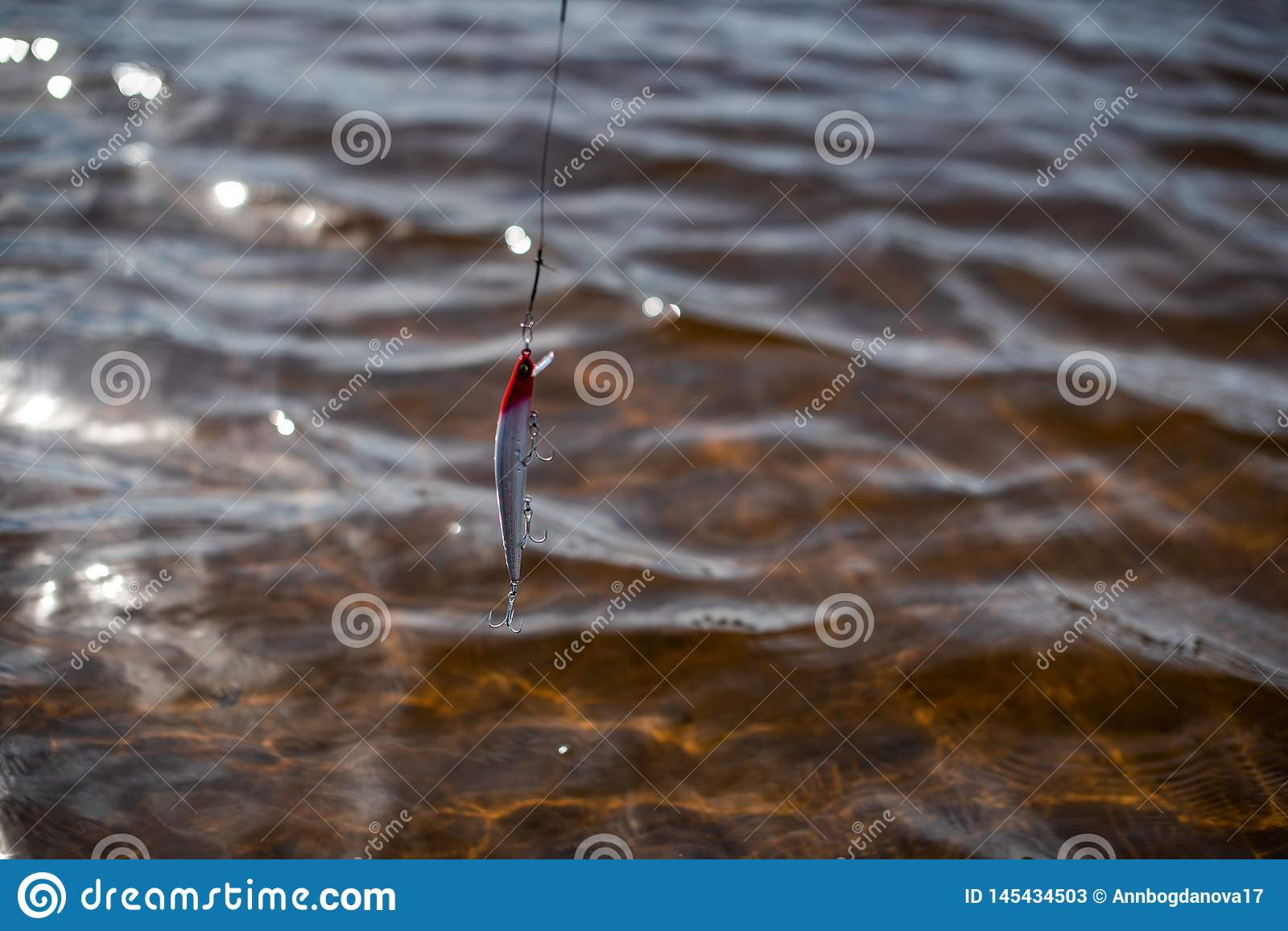 Fishing tackle for fishing on the background of water