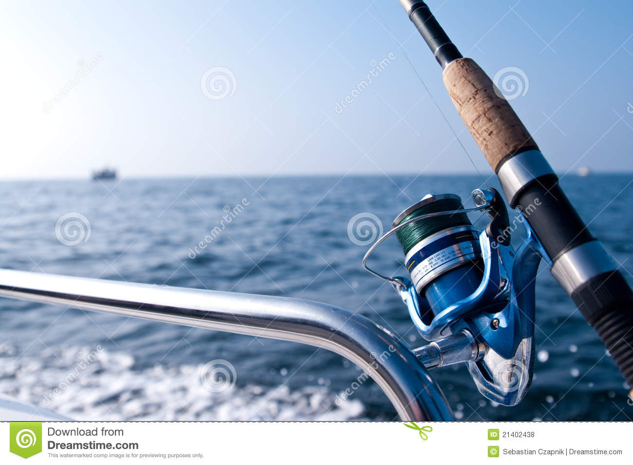 Fishing road on boat at sea
