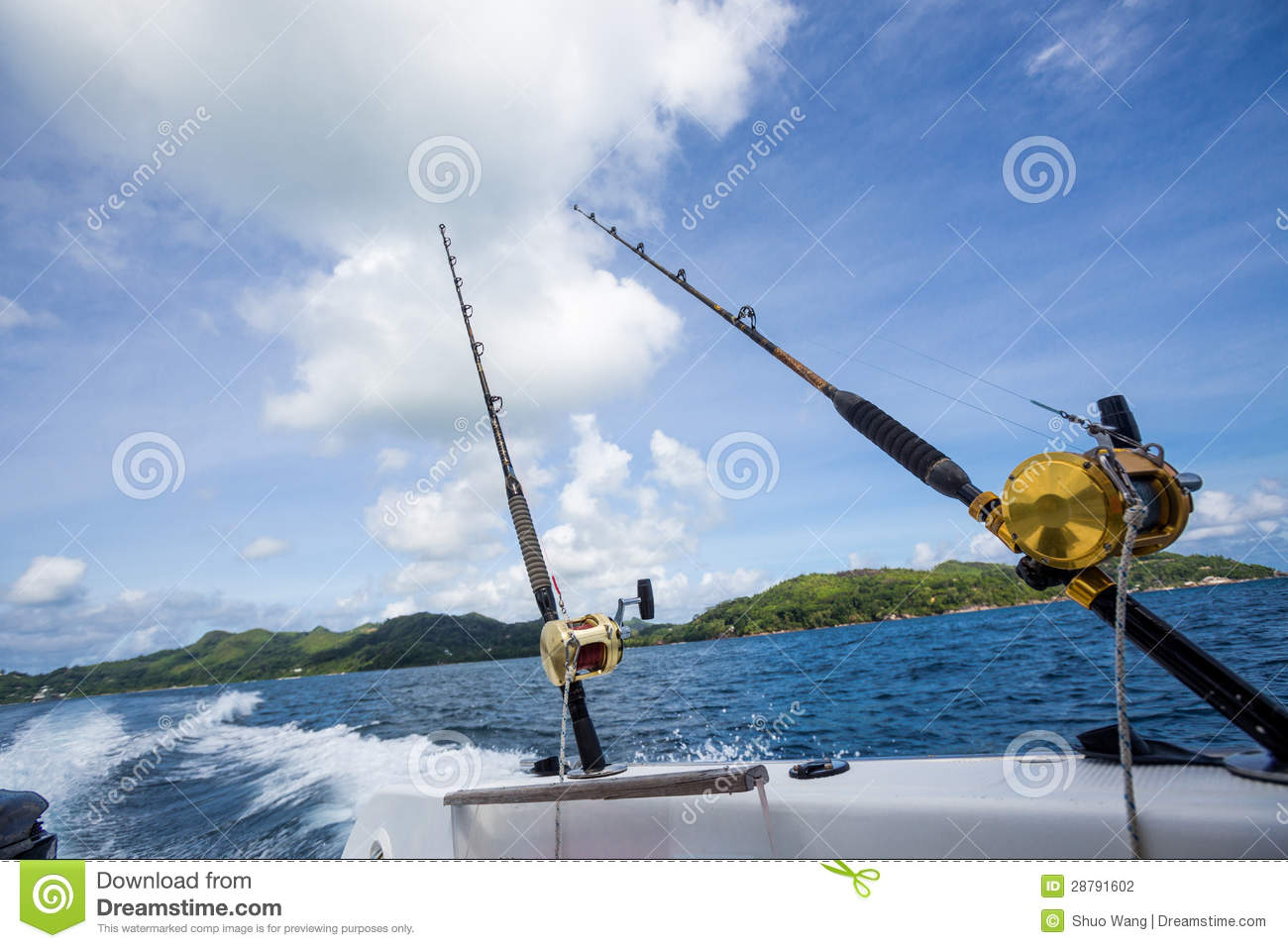 Fishing rod on boat at sea stock photo image of angling for Boat fishing rods