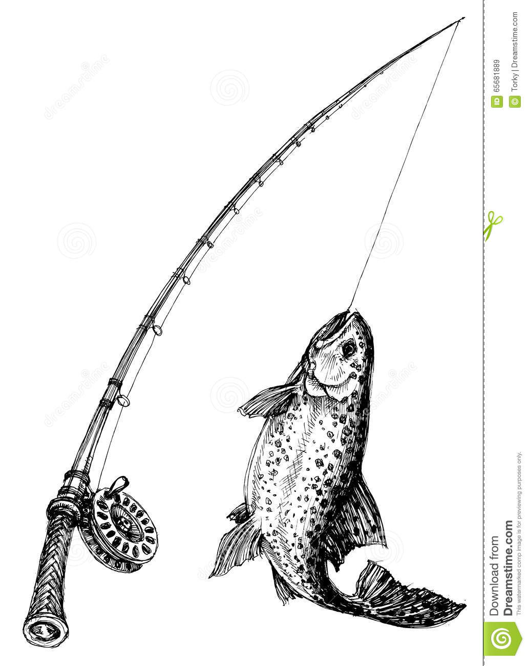 Fishing rod stock vector image 65681889