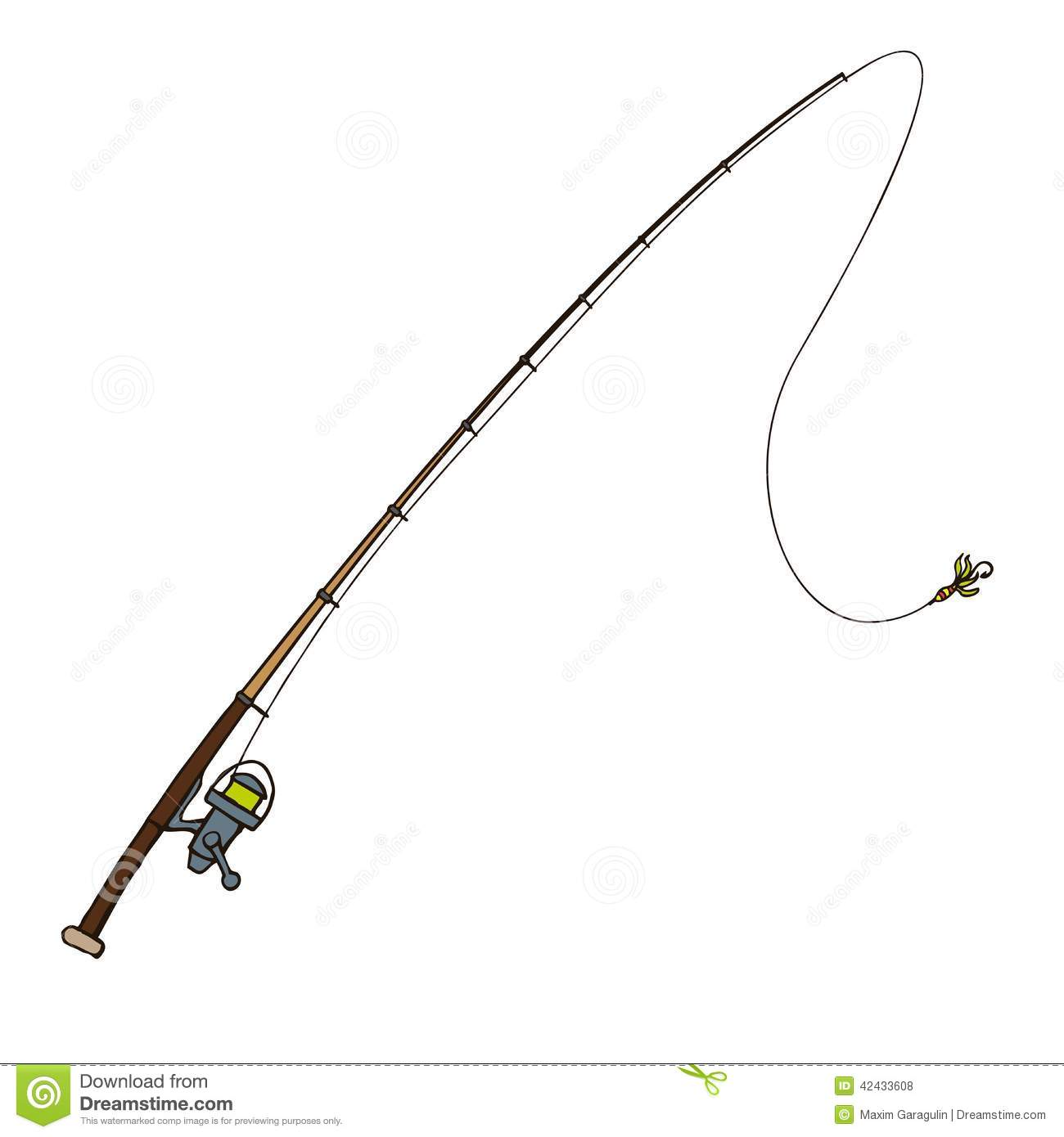 Fishing Rod With Fly Bait. Vector Illustration. Stock ...