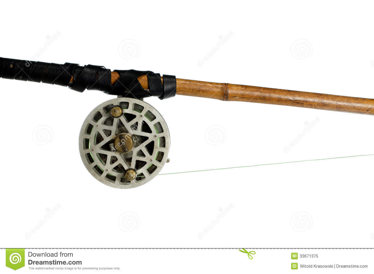Fishing rod with old spinning wheel royalty free stock for White fishing rod