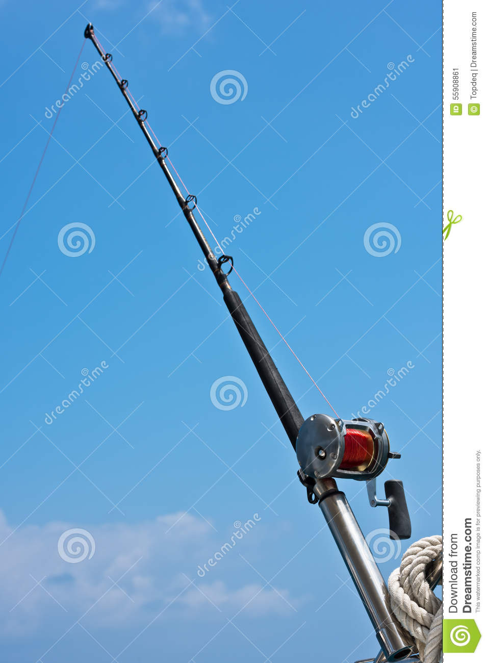 Fishing rod and reel on a yacht for Shooting fishing rod