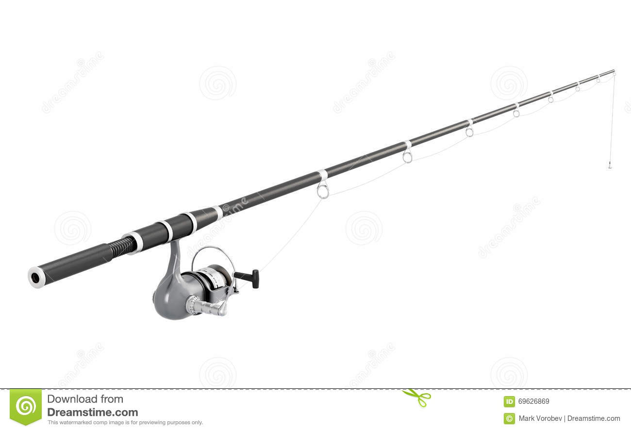 Fishing rod spinning on white background 3d image rend for White fishing rod