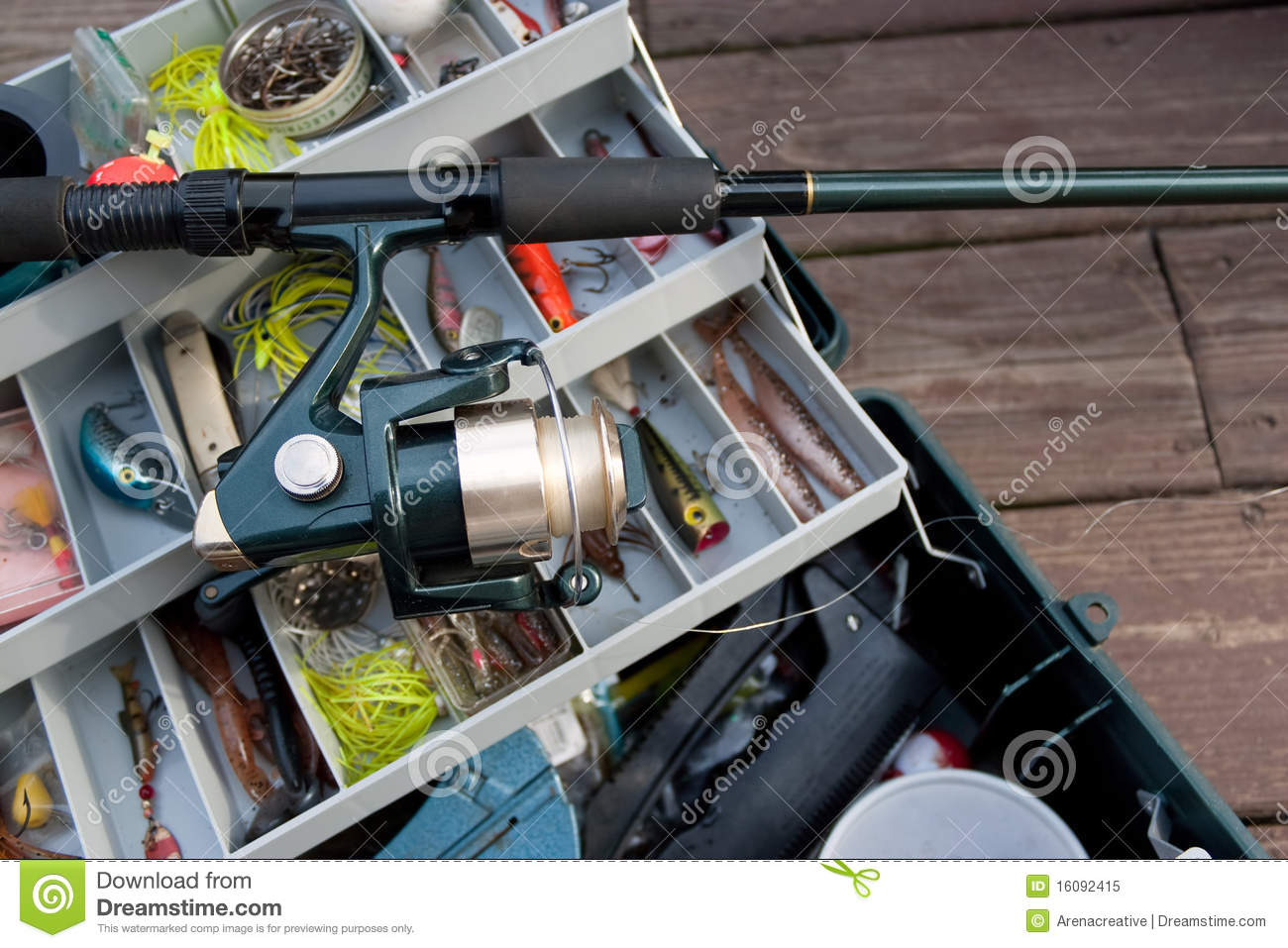 Fishing rod and tackle box royalty free stock photo for Fishing bait and tackle