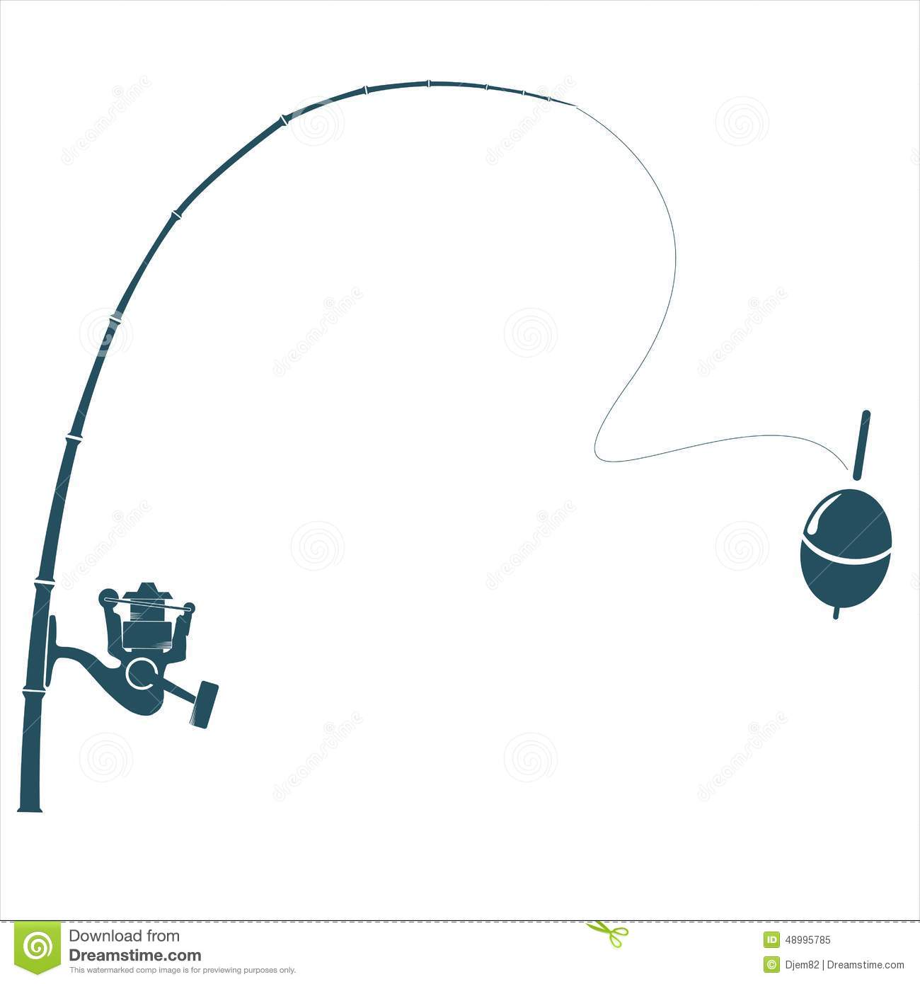 Fishing Rod On The White Backdrop. Stock Vector - Image: 48995785