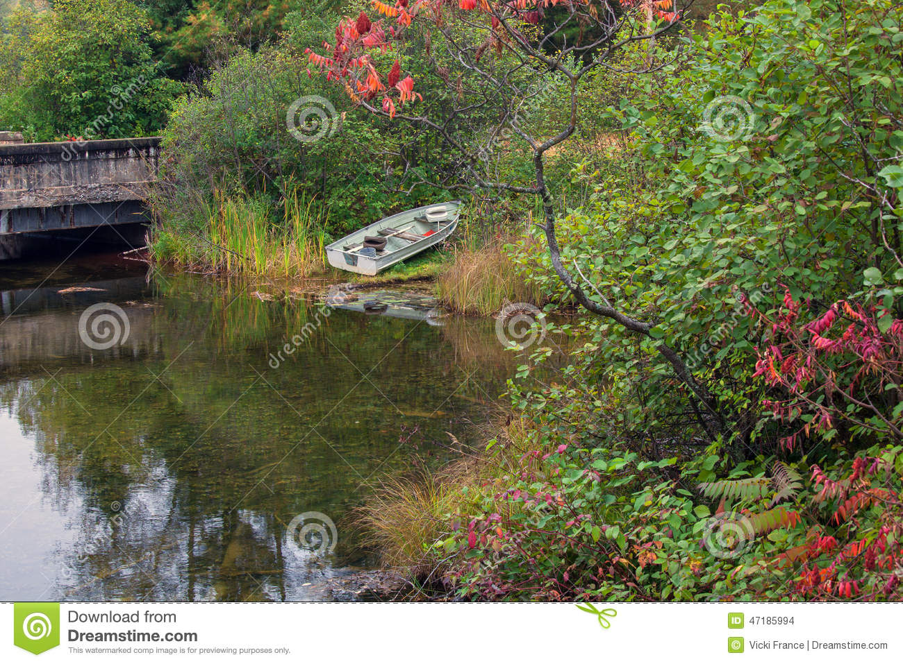 Fishing rowboat parked along the lake shore stock photo for Michigan fishing license prices