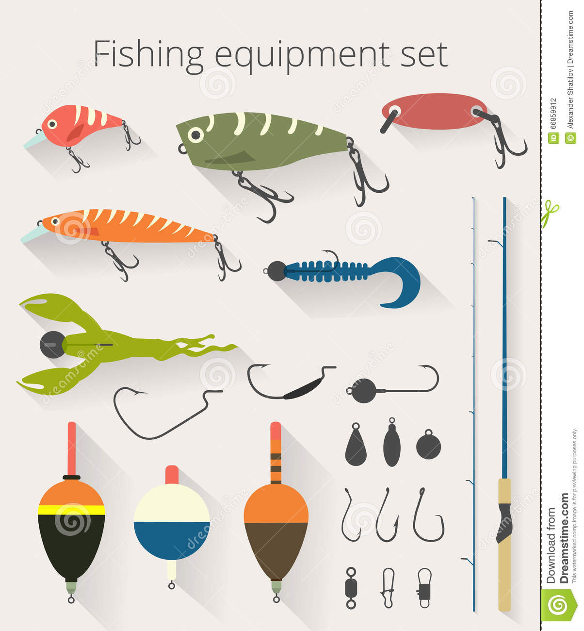 fishing set of accessories for spinning fishing with crankbait, Fishing Bait